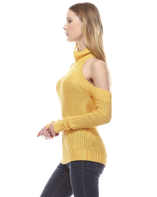 SHOULDER-CUTOUT SWEATER TOP - orangeshine.com