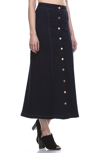 BUTTONS MAXI DENIM SKIRT - orangeshine.com