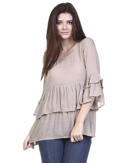 LAYERED SOLID BLOUSE - orangeshine.com