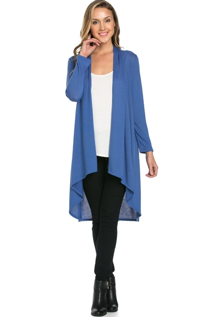 Open Front Drape High Low Long Cardi - orangeshine.com