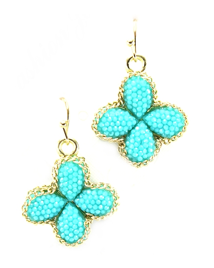 Turquoise Color Clover Earring - orangeshine.com