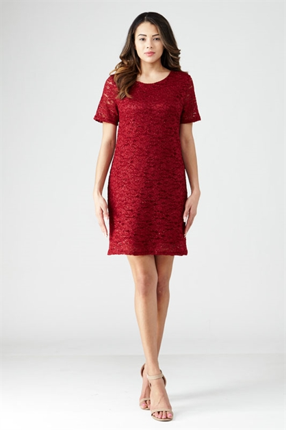 GLITTER LACE SHIFT DRESS - orangeshine.com