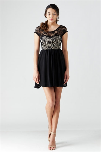 LACE TOP SKATER DRESS - orangeshine.com