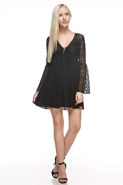 Lace Baby Doll Dress - orangeshine.com