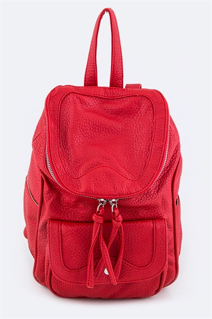Grain Leather Backpack - orangeshine.com