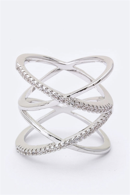 Iconic CZ Crossed Hoops Ring - orangeshine.com
