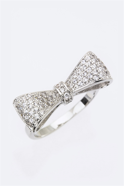 CZ Bow Tie Fashion Ring - orangeshine.com