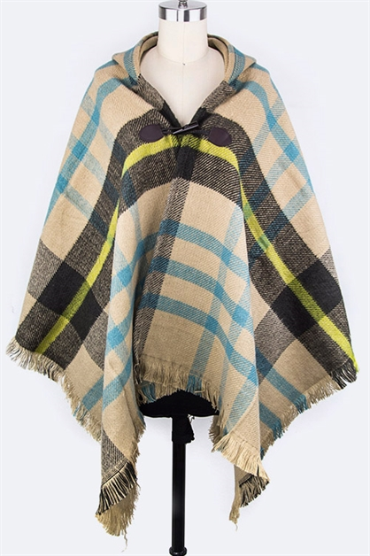 Mad For Plaid Hooded Shawl - orangeshine.com