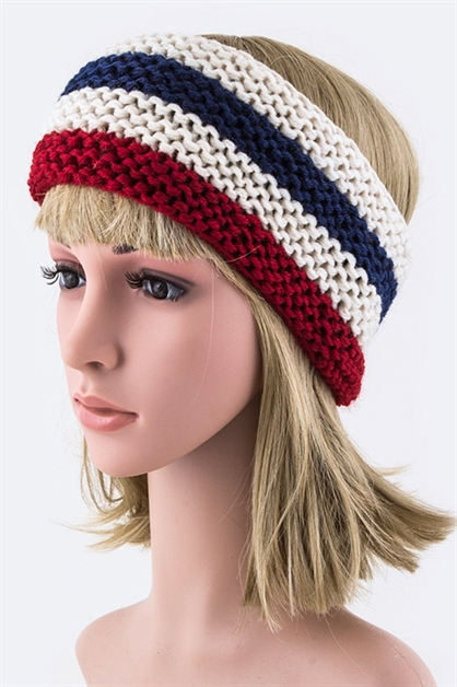 Stripes Stretch Knit Headband - orangeshine.com