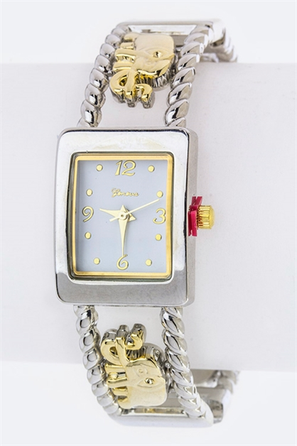 Crystal Elephant Bangle Watch - orangeshine.com
