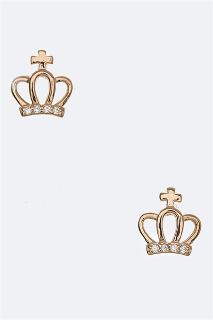 Sterling Silver Crown Earrings - orangeshine.com
