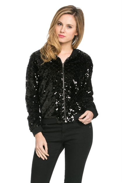 SEQUIN BOMBER JACKET - orangeshine.com