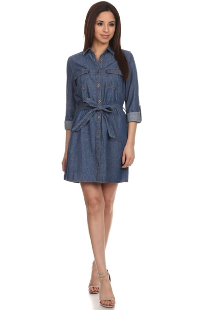Button down denim shirt dress - orangeshine.com
