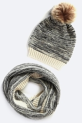 Knit PomPom Scarf and Beanie - orangeshine.com