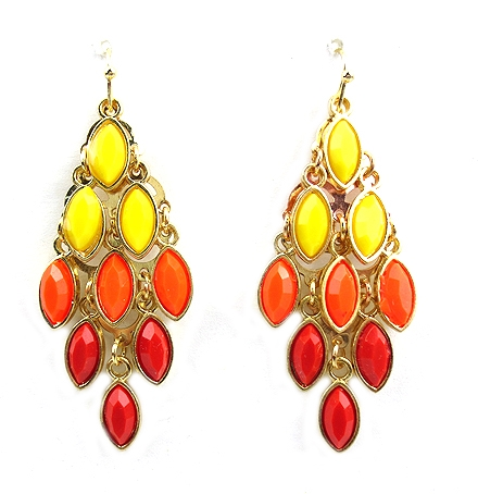 Coral and Yellow Earring - orangeshine.com