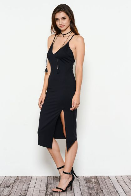 STRAPPY SLIT SIDE FITTED DRESS - orangeshine.com