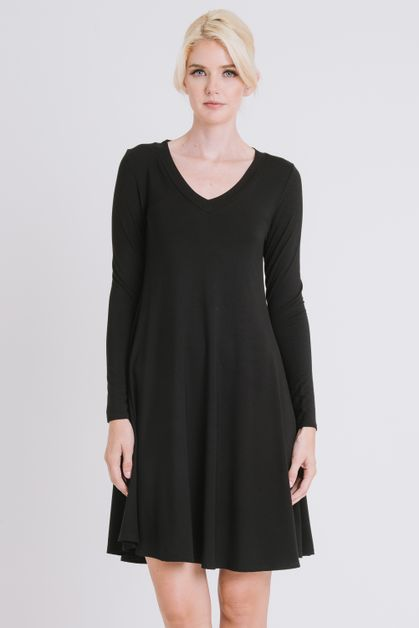 Solid V neck long sleeves dress - orangeshine.com