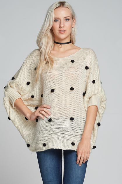 Polka dot 3/4 sleeve top - orangeshine.com