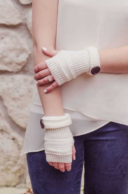 Crafty Button Fingerless Gloves - orangeshine.com