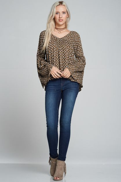 Ditsy flower print bell sleeves Top - orangeshine.com