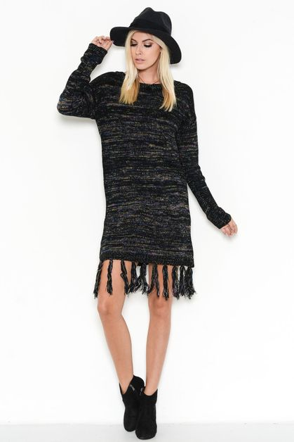 FRINGED SWEATER DRESS - orangeshine.com