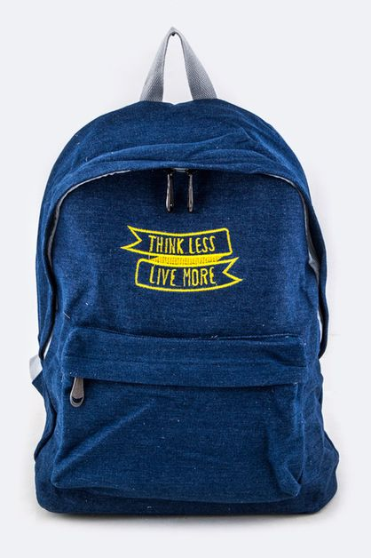 Think Less Live More Denim Backpack - orangeshine.com