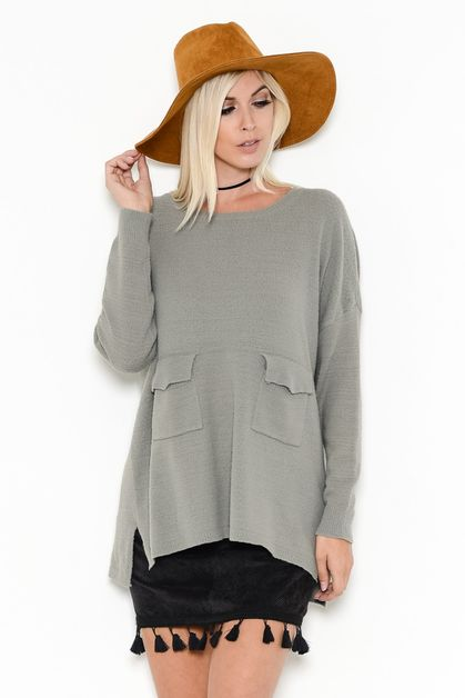 MULTI POCKET SWEATER TUNIC - orangeshine.com