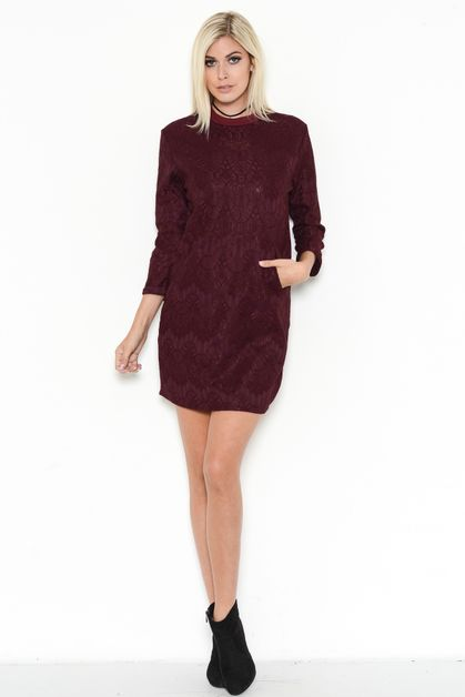 CROCHET CREW-NECK SHIRT DRESS - orangeshine.com