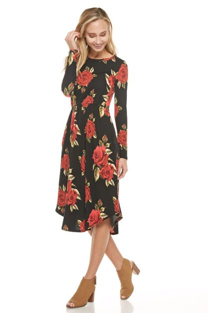 floral midi round hem pocket dress - orangeshine.com