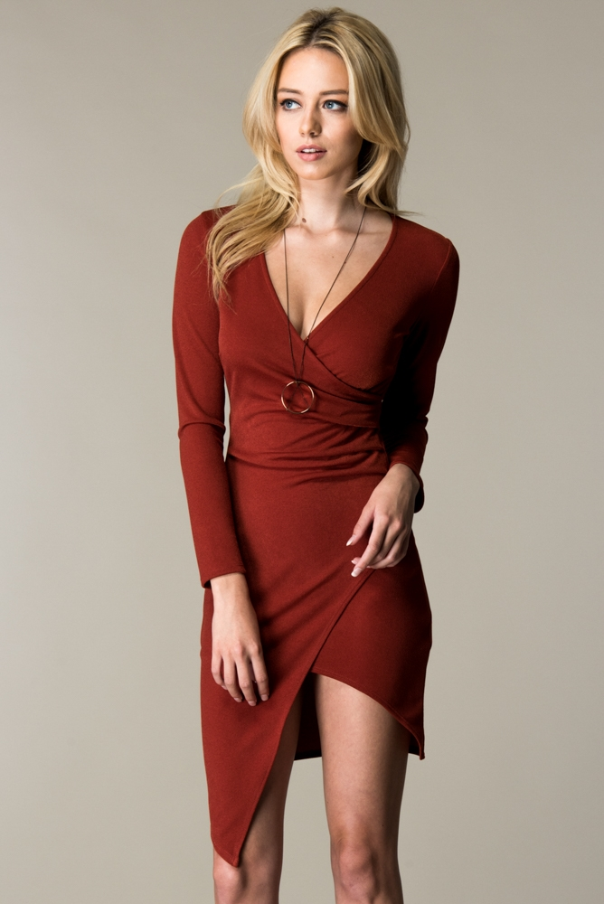 LONG SLEEVE BODYCON ASSYMETRICAL WRA - orangeshine.com
