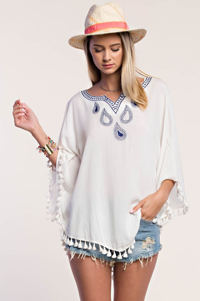EMBROIDERED PONCHO TOP - orangeshine.com