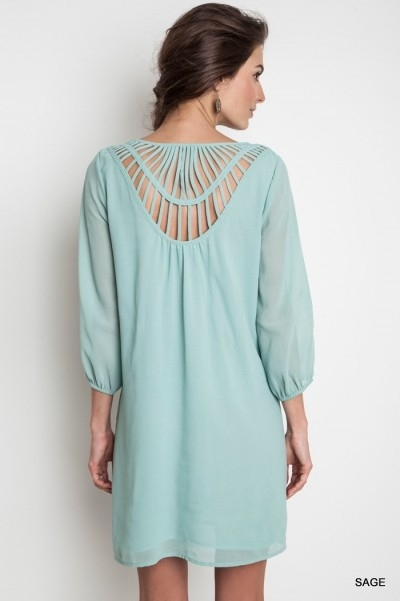 3/4 SLEEVE SHIFT DRESS - orangeshine.com