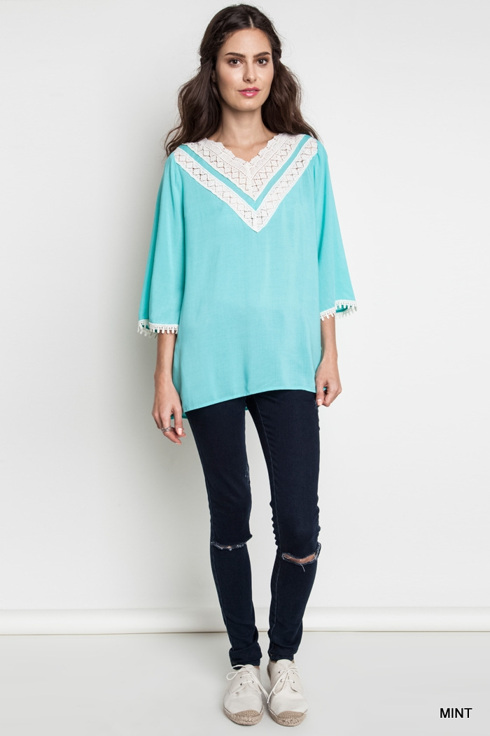 LACE V-NECK TUNIC - orangeshine.com