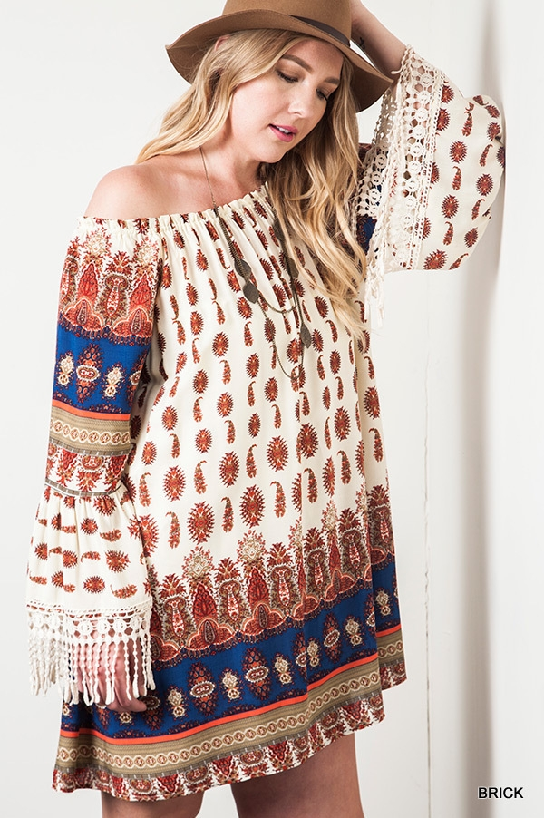 OFF THE SHOULDER PRINT DRESS - orangeshine.com
