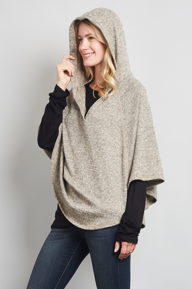 HOODED CAPELET PONCHO TOP - orangeshine.com