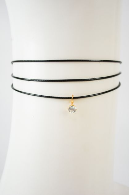 Tri-Cord Choker with diamond pendant - orangeshine.com