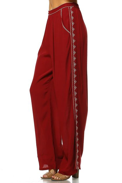 EMBROIDERED LONG PANTS - orangeshine.com