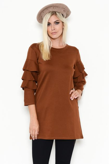 CONTEMPORARY RUFFLE SLEEVE DRESS - orangeshine.com