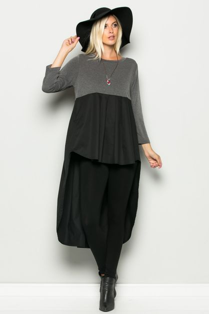 COLORBLOCKED HIGH-LOW TUNIC DRESS - orangeshine.com