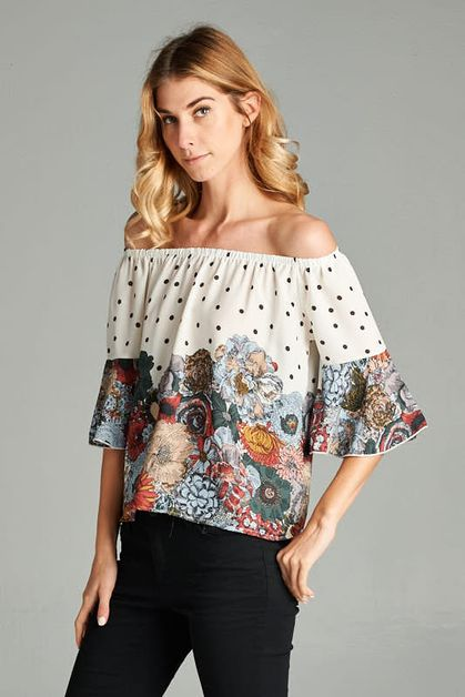 FLORAL POLKA DOT BELL SLEEVE TOP - orangeshine.com