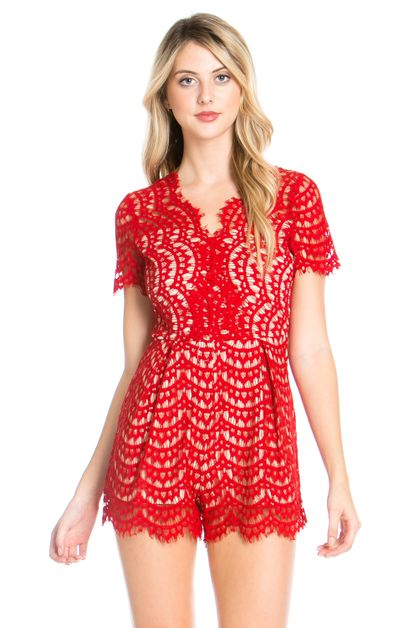 EYELASH LACE BACK ZIPPER ROMPER - orangeshine.com