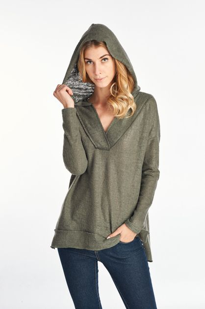 Knit Long Sleeve Hoodie Sweater Top - orangeshine.com