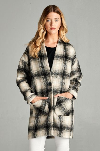 COMFY PLAID COAT - orangeshine.com