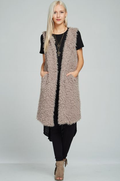 Shaggy fur sleeveless outwear - orangeshine.com