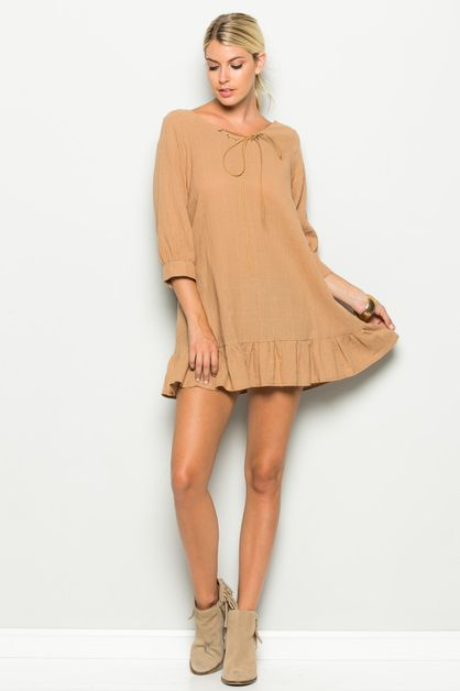V-NECK LEATHER STRING TUNIC - orangeshine.com