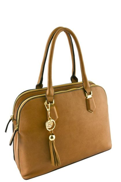 3 COMPARTMENT TOTE BAG WITH TASSEL - orangeshine.com