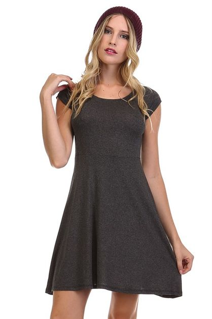 SOLID CAP SLEEVE SWING DRESS - orangeshine.com
