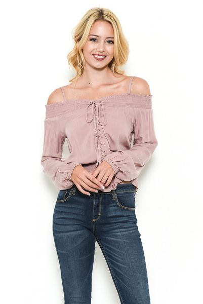 Eyelet Lace Up Off Shoulder Top - orangeshine.com