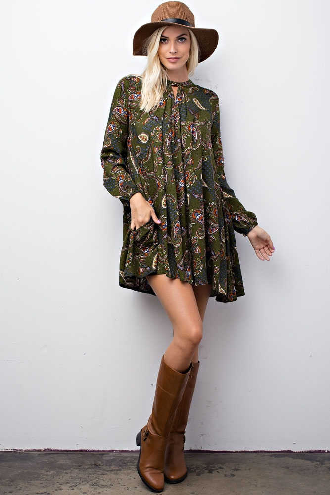 Paisley Print Loose Fit Dress - orangeshine.com