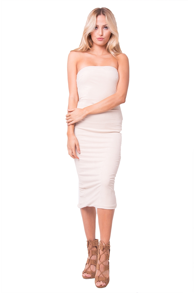 STRAPLESS MIDI DRESS - orangeshine.com